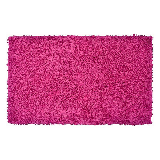 Tapis De Bain Rose - 80X50 Cm - Bouclettes - CRAZY - 100% Coton